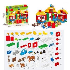 Image 2 - Ensembles de blocs de construction de ferme heureux, grandes particules, animaux de Zoo, voiture, ville, jouets éducatifs pour enfants