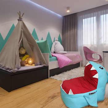 Stuffed Animal Toy Storage Bean Bag Shark Shape Child Toy Organizer Chair Home Decoration Furniture