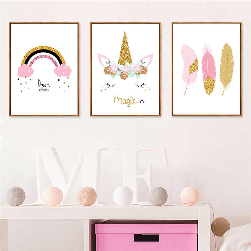 Nordic Fresh Pink Cartoon Unicorn Feather Cloud Decorative Canvas Painting Background Wall Hanging Painting Posters and Prints