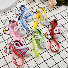 2019 New 1Pc Mini Canvas Shoes Sneaker Tennis Keychain Creative Key Ring Chain Simulation Sport Funny Keyring Pendant Gift