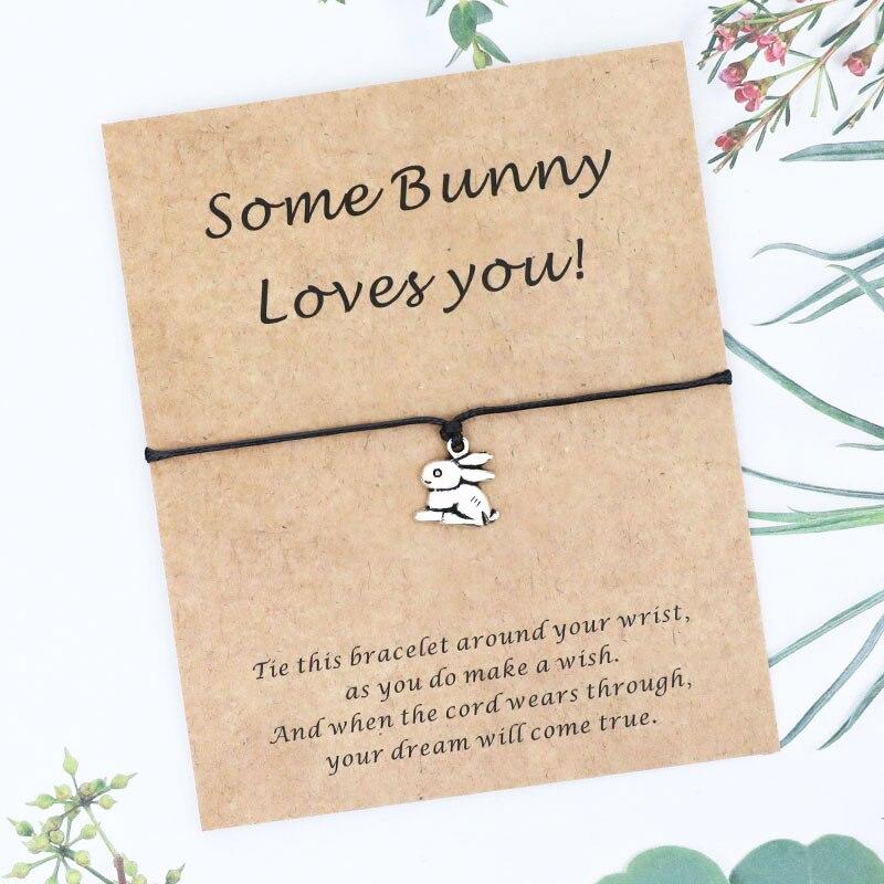 Прекрасный Банни браслет дружбы милый кролик Шарм браслет желаний Банни карты BFF подарок животное ювелирные изделия кролик подарок