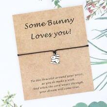 Bonito coelho amizade pulseira bonito coelho charme desejo pulseira coelho cartão bff presente animal jóias coelho amante presente
