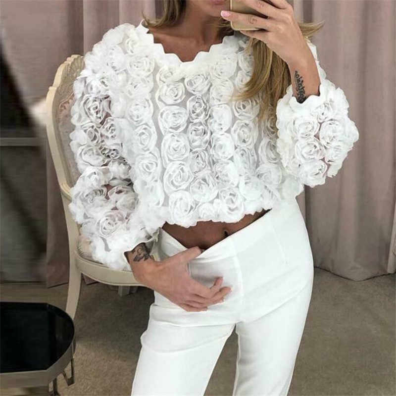 2019 Fashion Female Clothing Lace Embroidery Blouse Shirt Korean Style Flower Embroidered Tops Korean Style White Fresh Shirt