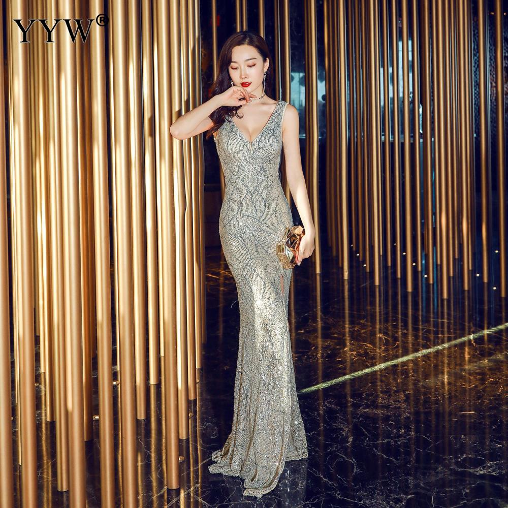 Sexy Deep V Neck Sequins Dress Women Backless Long Party Dresses Side Slit Sleeveless Bodycon Special Occasion Wear Formal Gowns