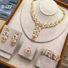 цены Dazz 4PCS Luxury Cubic Zircon Flower Jewelry Set Nigeria Bridal Fashion Dubai Wedding Women necklace Earring Leaf Jewellery Sets