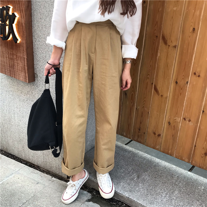 Hd5fa9fbe580243b7a77f78f0fbc04a8eC - Spring / Autumn Loose Straight Solid Pants