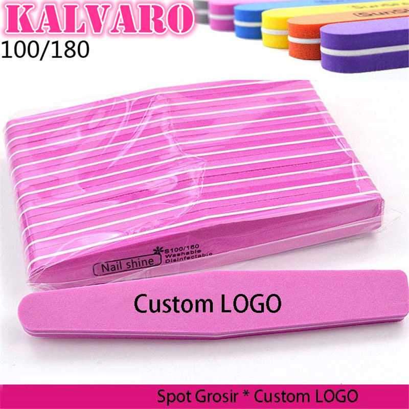 10Pc Acrylic Nail File Strong Sandpaper Nail Buffer Block For Manicure Lime Ongle 100/180 Washable Boat Files Tools+Custom Logo