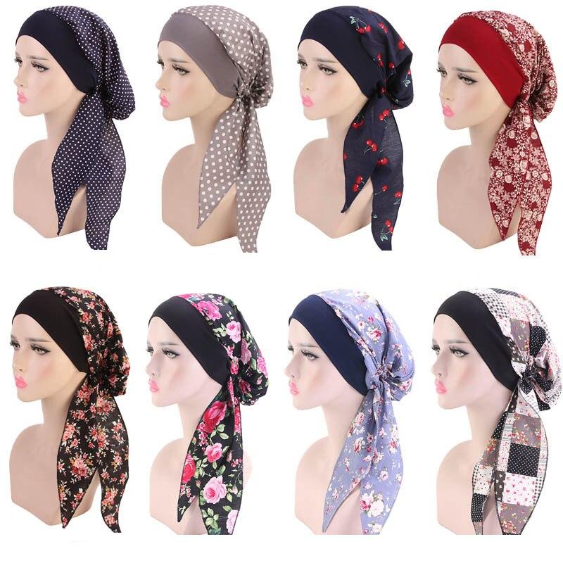 Muslim Women Print Cotton Turban Hat Scarves Pre-Tied Cancer Chemo Beanies Headwear Bandana Headwrap Hair Loss Accessories