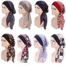 Muzułmanki drukuj bawełna Turban szaliki wstępnie wiązany rak Chemo czapki nakrycia głowy chustka na głowę utrata włosów akcesoria
