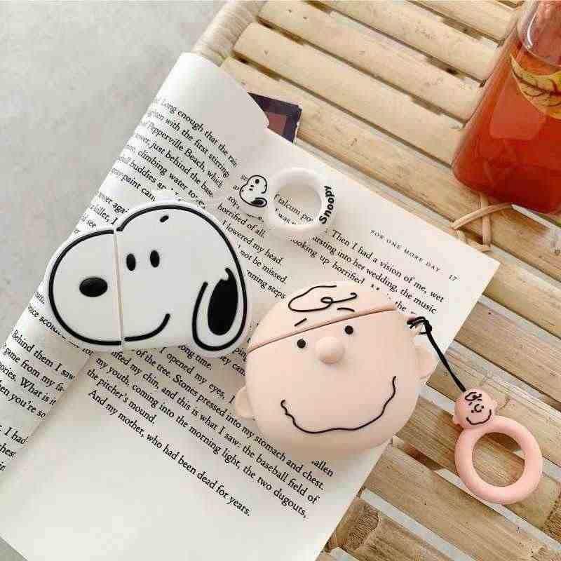 Anime Cartoon Charlie Dog Bluetooth Wireless Airpods Headset Set Silicone Cover For Airpods Earphone Protective Shockprof Case
