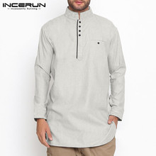 Cotton Men Shirt Indian Kurta Suit Stand Collar Long Sleeve Solid Vintage Button Shirts Muslim Clothing INCERUN S-5XL