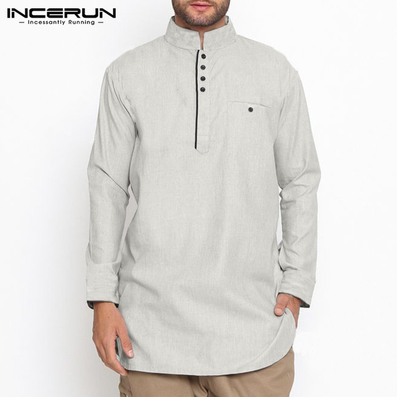 Cotton Men Shirt Indian  Suit Stand Collar Long Sleeve Solid Vintage Button Long Shirts Men Muslim Clothing INCERUN S-5XL