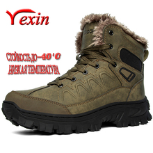 Brand Leather Men Boots Winter with Fur Warm Snow Boots Man Casual Outdoor Shoes High Quality Waterproof Ankle Boots Men Size 48