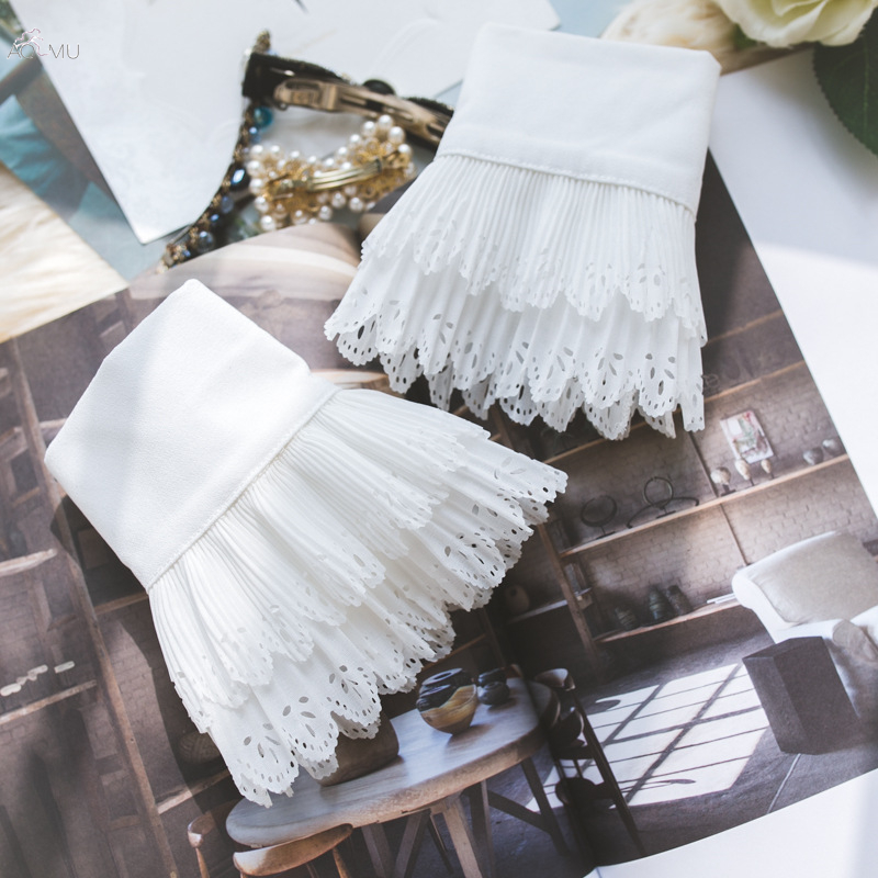 AOMU Women Girls Decorative Double Layer Fake Flare Sleeves Floral Lace Pleated Ruched False Cuffs Apparel Wrist Autumn Winter
