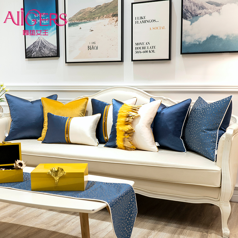 Avigers Luxury Modern Patchwork Blue White Yellow Feathers Cushion Covers Home Decorative Pillow Cases For Sofa Bedroom Car