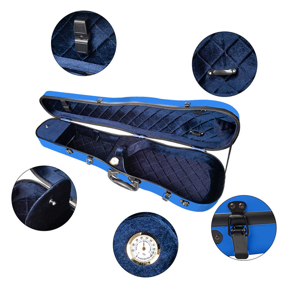 Dünne Violine Harte Fall 4/4 Volle Größe Luxus Fiberglas mit Hygrometer Violine Fall Rucksack Stil Blau