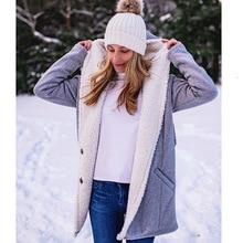 Winter Warm Coat Female Windproof European American New Hooded Overcoat Loose Long Plush Coat Casual Long-sleeved Windbreaker цена 2017