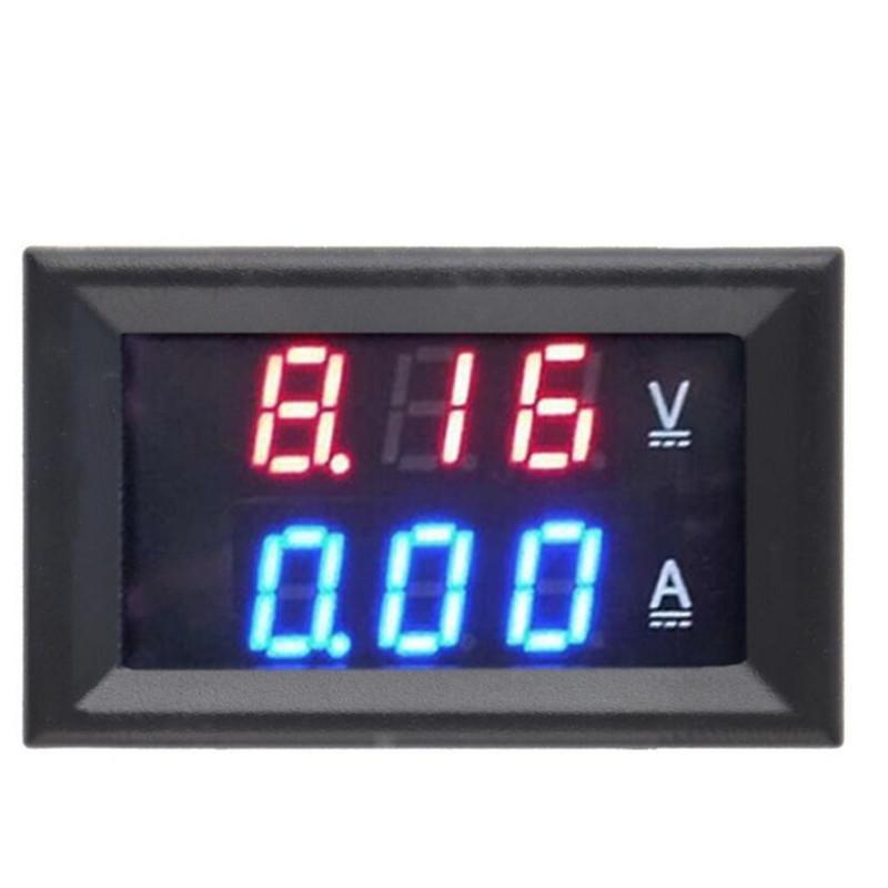 1 шт. Вольтметр Амперметр постоянного тока 0-100 в 10 А красный + синий/красный + красный светодиодный усилитель двойной цифровой индикатор напр...