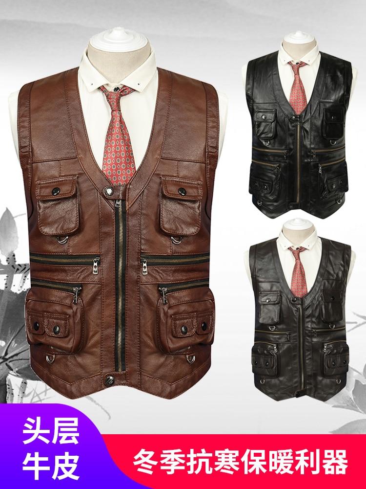 More Than 2020  Men Leather Vest Pocket Fashion Warm Leisure Leather Vest