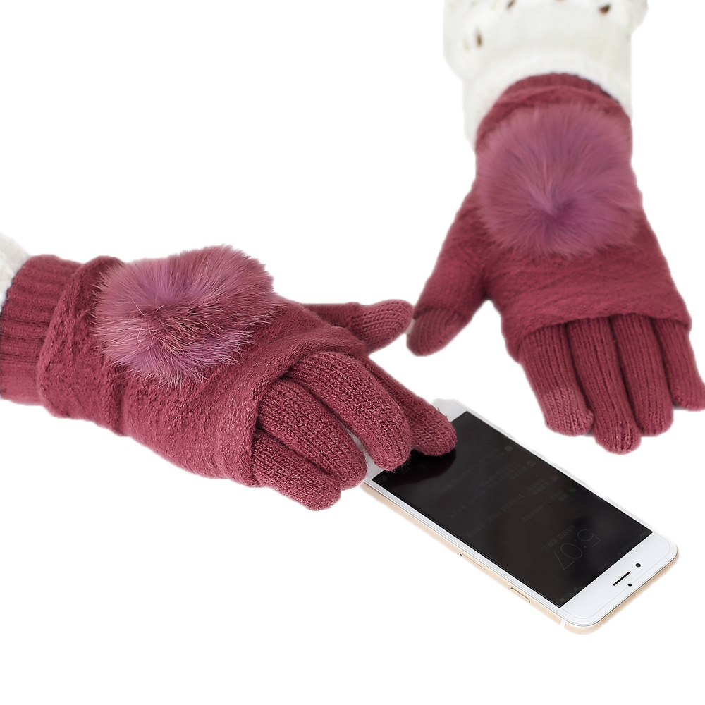 Sparsil Women Rabbit Hair Ball Touch Screen Gloves Winter Full Finger+Half Finger 2 Piece Cashmere Thick Warm Mittens Guantes