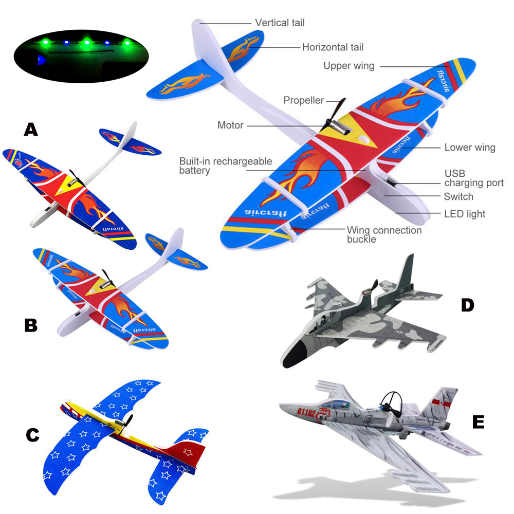 2019 DIY Biplane Glider Foam Powered Flying Plane Rechargeable Electric Aircraft Model Science Educational Toys For Children Hot