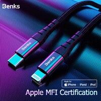 Benks m11 mfi pd cabo de carregamento rápido para iphone xs 11 pro max x xr 8 mais tipo usb c para relâmpago cabo do telefone cabo de carregador de náilon