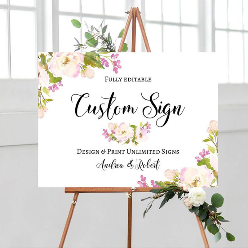 Personalized Wedding Welcome Sign Peony Floral Welcome Sign Wooden Printable Floral Wedding Reception Sign Rustic Wedding Board