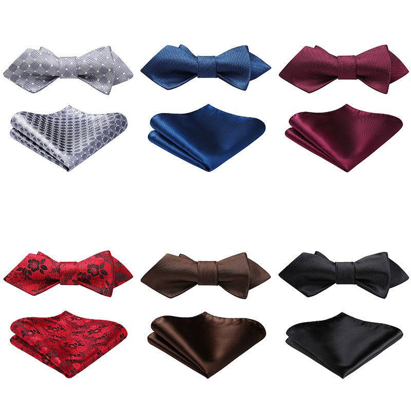 HISDERN Men's Check Solid Floral Wedding Party Diamond Point Tip Self Bow Tie & Pocket Square Set