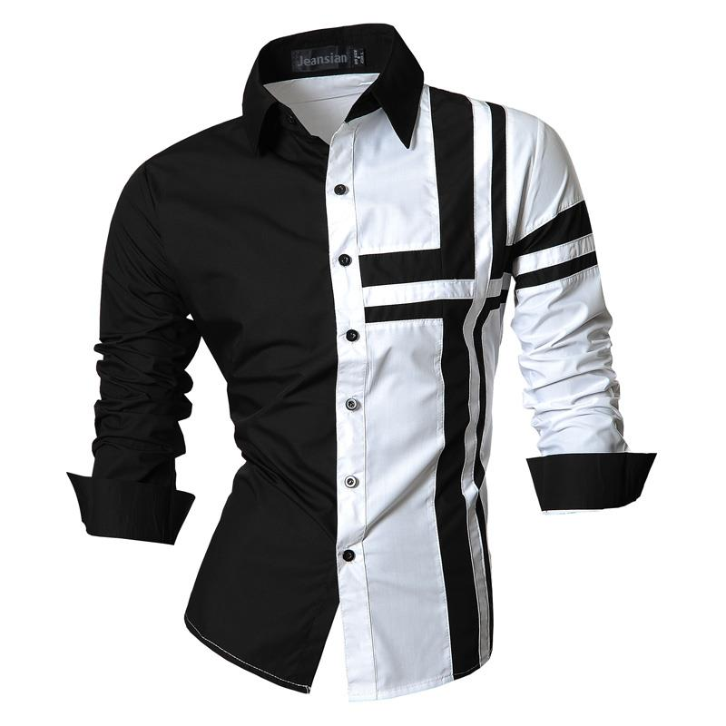 Jeansian Men's Dress Shirts Casual Stylish Long Sleeve Designer Button Down Slim Fit Z014 White