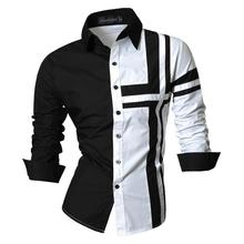 Jeansian Mens Dress Shirts Casual Stylish Long Sleeve Designer Button Down Slim Fit Z014 White