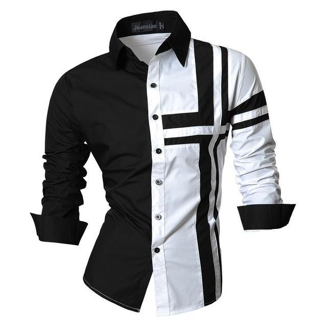 Jeansian hommes chemises habillées décontracté élégant à manches longues concepteur bouton vers le bas coupe mince Z014 blanc