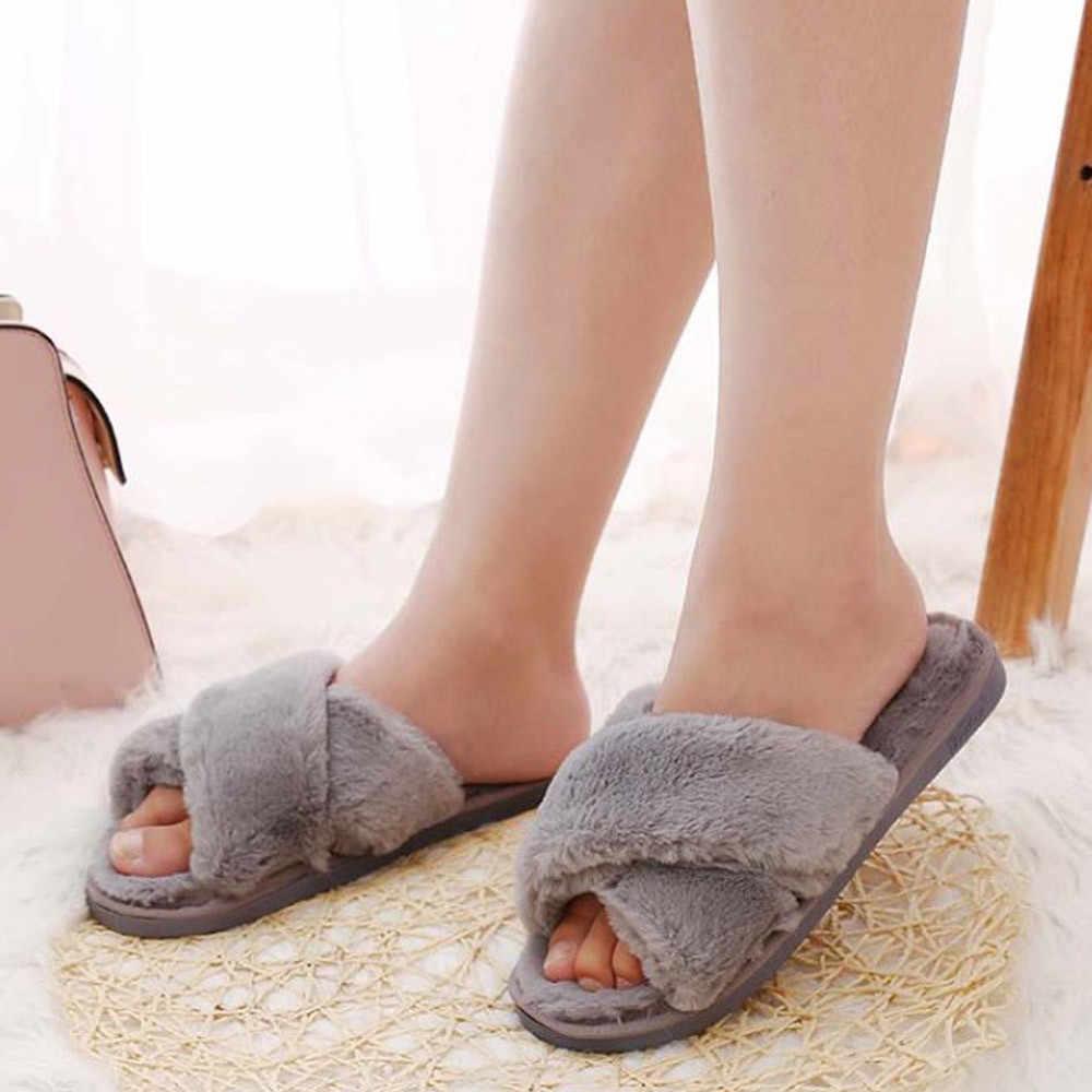Zapatillas de invierno para mujer con piel sintética a la moda Zapatos de abrigo para mujer deslizantes planos femeninos negro y rosa Plus tamaño Terlik