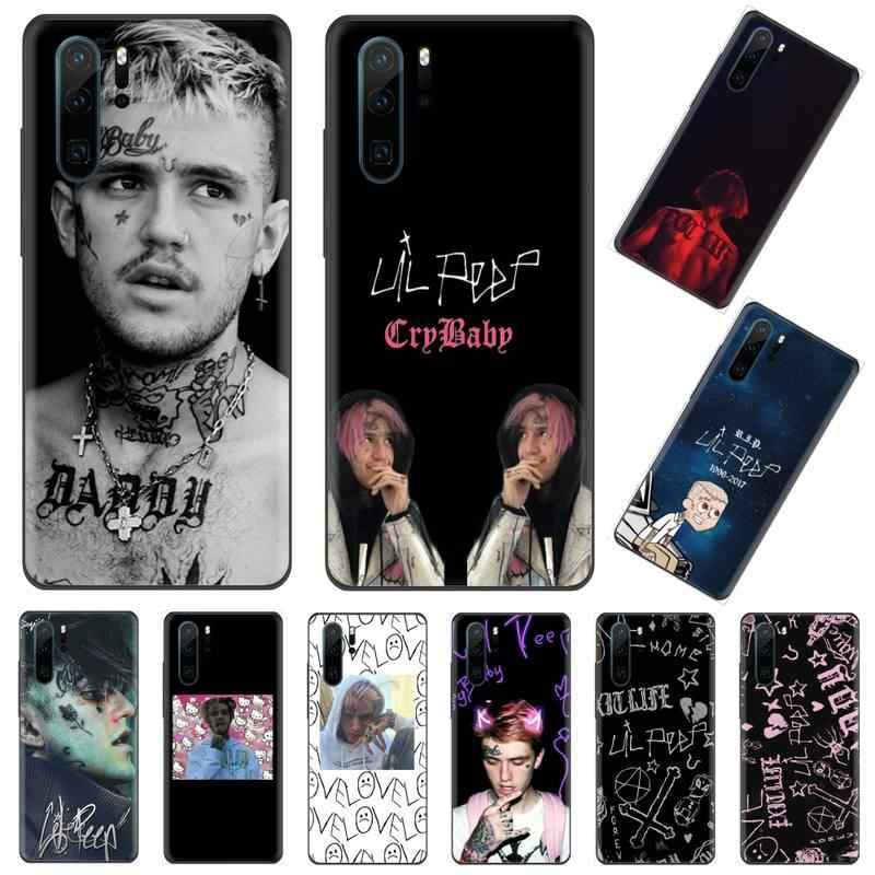 Lil peep capa de celular preta em tpu, eua, rapper, huawei p9 p10 p20 p30 pro lite smart mate 10 lite 20 y5 y6 y7 2018 2019