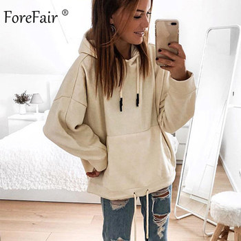 Forefair Oversized Hoodies Women Autumn 2019 Solid Hooded Big Pocket Woman Casual Plus Size Hoodie Sweatshirt