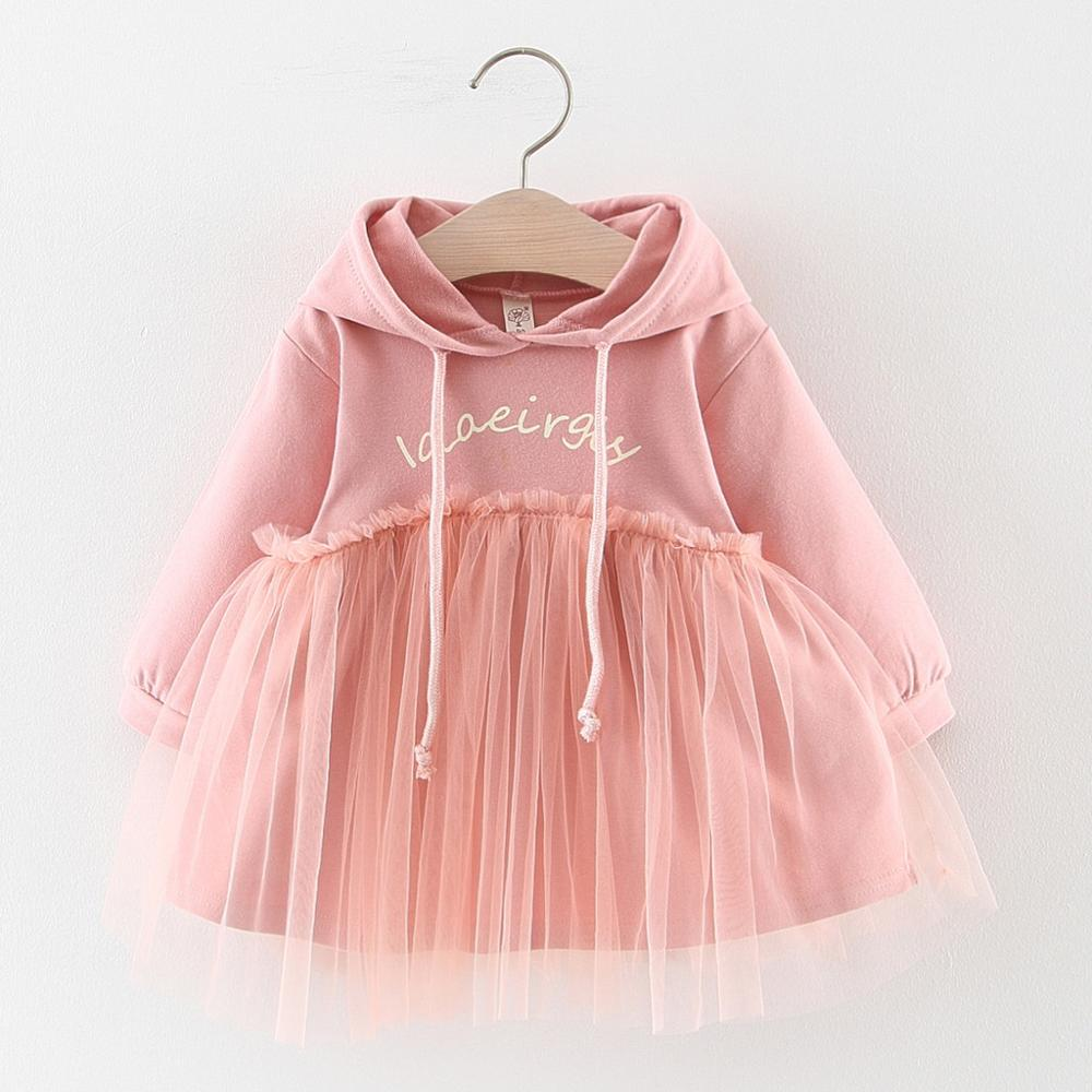 Baby Girl Dress Toddler Baby Kids Girls Autumn Long Sleeve Ruched Letter Patchwork Hooded Sweatshirt Princess Dress 2019 Newest