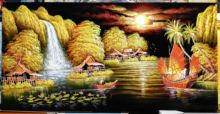 100% ручная роспись маслом на фланелете абстрактная лодка река
