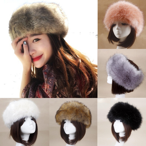 Women Thick Fluffy Hat Fur Headband Hat Warm Ear Warmer Ski Classic Empty Hat 3FS