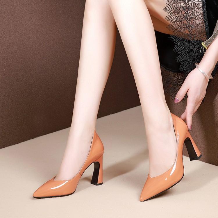 Hoge hakken vrouwen lente en herfst dikke hak vrouwen schoenen leren schoenen vrouwen witte schoenen PU8.5cm wit hakken - 3