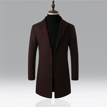 Winter Autumn Overcoat Woollen Long Men's Coats Thermal Thick Windbreaker Solid Male Fashion Business Smart Casual British Style