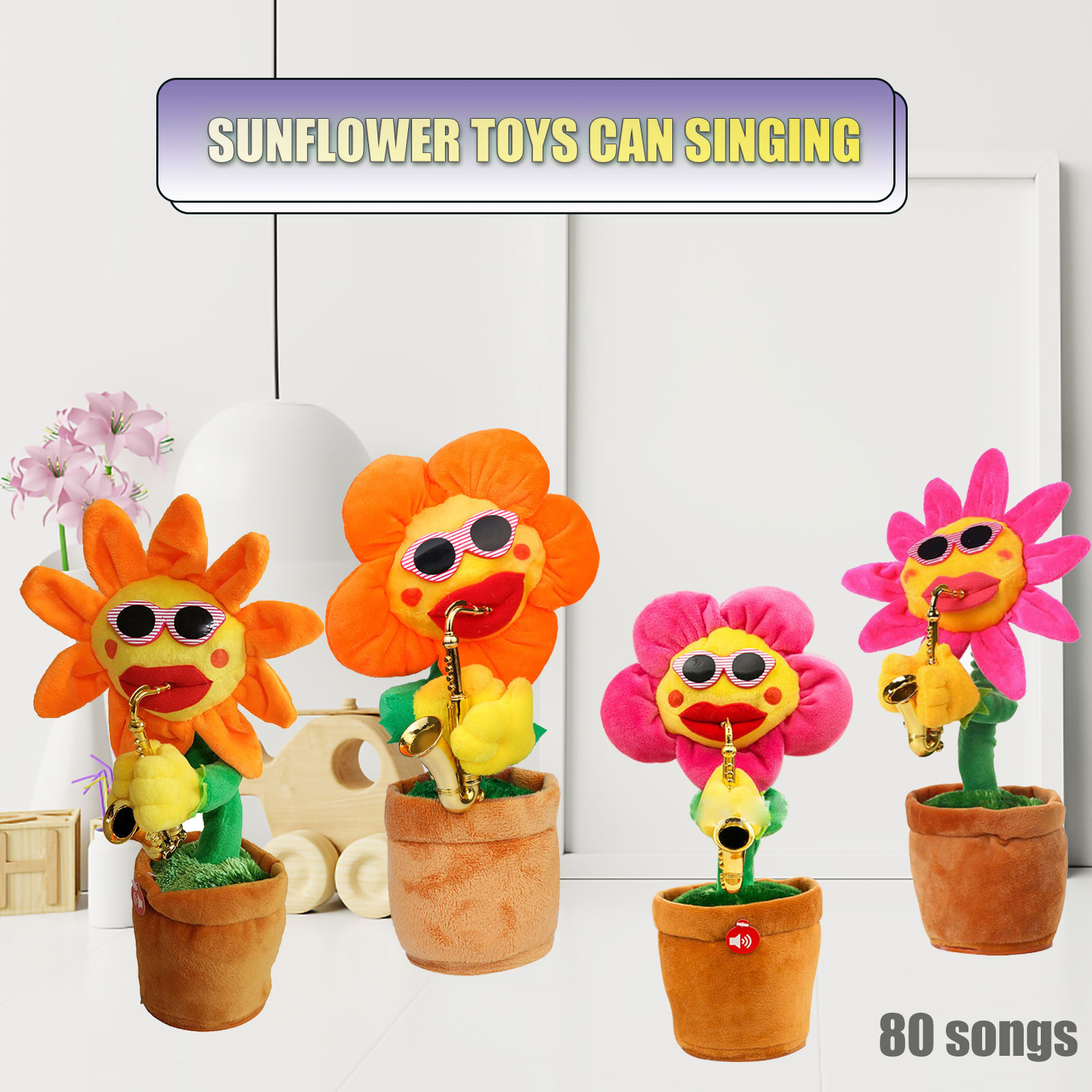 Plush-Toys Saxophone Singing-Flower Dancing Funny Enchanting Soft Stuffed And 80-Songs