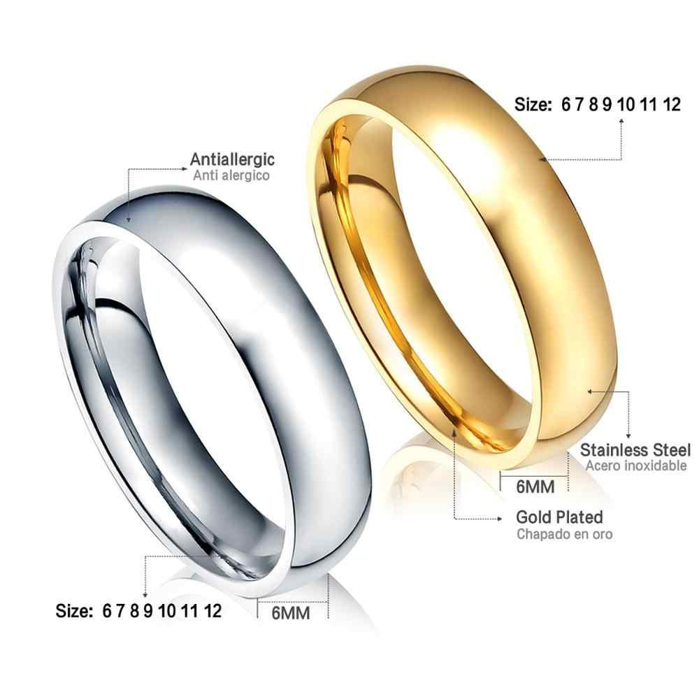 ASONSTEEL 골드/실버 색상 부드러운 약혼 반지 여성/남성 스테인레스 스틸 6mm 커플 반지 웨딩 파티 크기 6-12