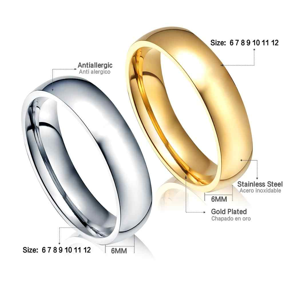 Anéis de noivado para mulheres/homens, dourado/prateado, suave, de aço inoxidável, 6mm para casal, festa de casamento tamanho 6-12