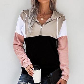 Zipper stitching long-sleeved sweatshirt women Autumn Winter Sleeve Stitching Hooded Fashion Plush Casual Thickening Long s C6K3