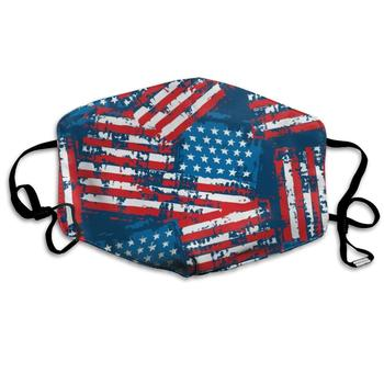 NiYoung Unisex Breathable USA American Flag Patriotic Mouth Mask, Adjustable Earloop   Anti Dust Pollution Face Mask for Running front knot american flag patriotic tee