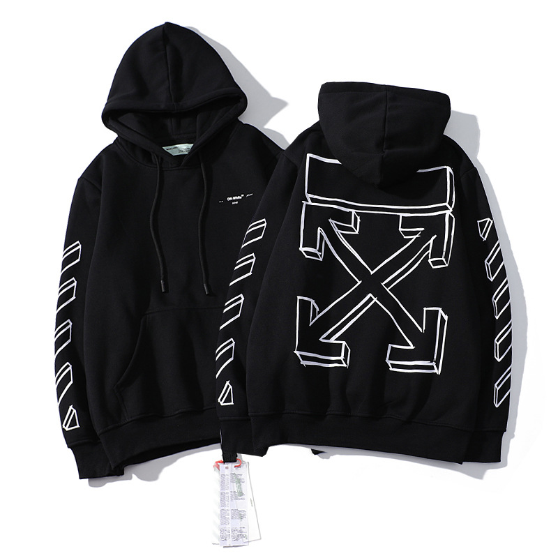 Europe And America Off Popular Brand White Chunky Sketch Graffiti Design Hooded Plus Velvet Hoodie Men And Women Loose-Fit Men's