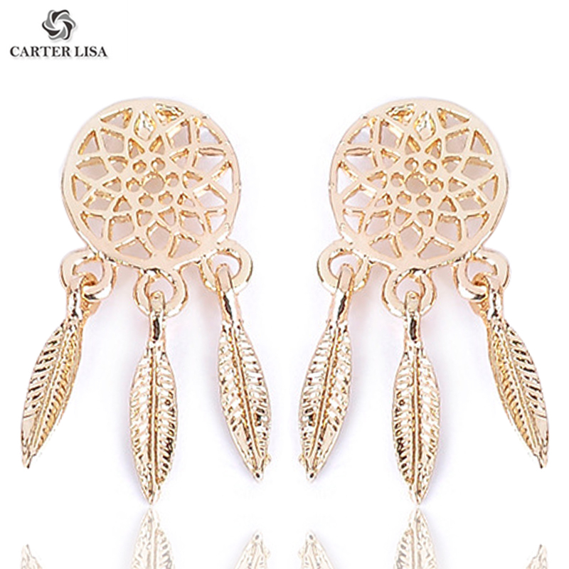 Carter Lisa Gold Silver Hollow Round Metal Leaf Tassel Dangle Drop Statement Earrings For Women Girl Fashion Jewelry