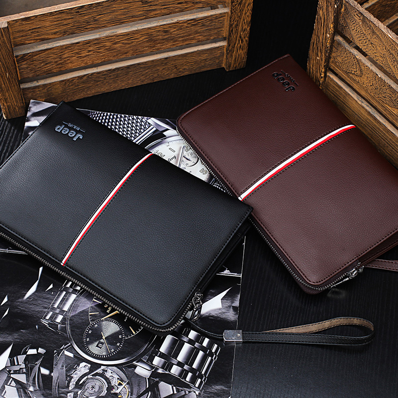 Image 5 - JEEP BULUO Luxury Brand Men's Handbag Day Clutches Bags For Phone High Quality Spilt Leather Wallet Hand bag Large Capacity Male
