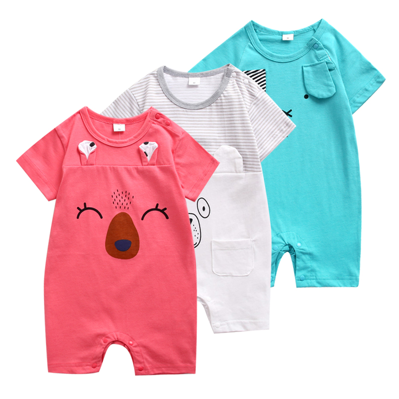 100% Cotton Baby Boy Girl Rompers Summer Short Sleeved Cartoon Animal Jumpsuit Toddler Cute Boutique Clothes For Baby Clothing