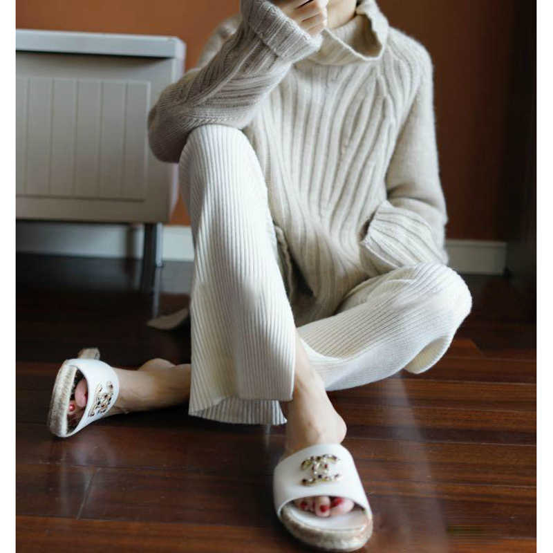 Mùa Thu áo Mùa Đông nữ cao cổ Cashmere Áo len dệt kim chui đầu nữ sweter thời trang áo len mới Rời Plus Kích Thước cao cấp