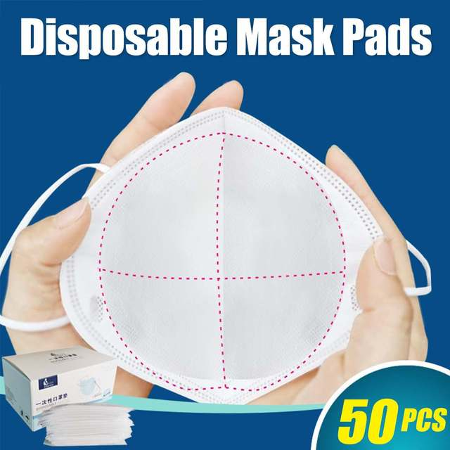 50PCS Mask Face Mask Respirator Filter Pad 3 Layers Disposable Anti Smog Anti Flu Prevention Protective Masks for All Face Mask